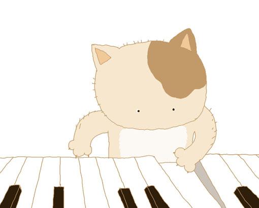 花花玩钢琴。